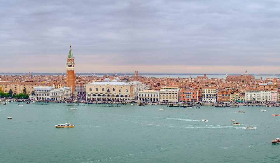 Panoramic cityscape view of Venice Grand canal and lagoon, Italy